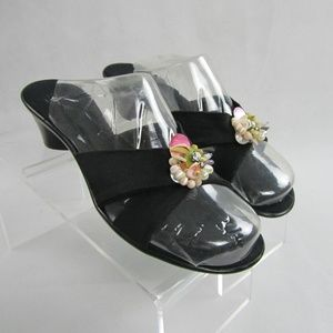 Luisa D'orio Black Slide Sandals Black Size 6 NWOB